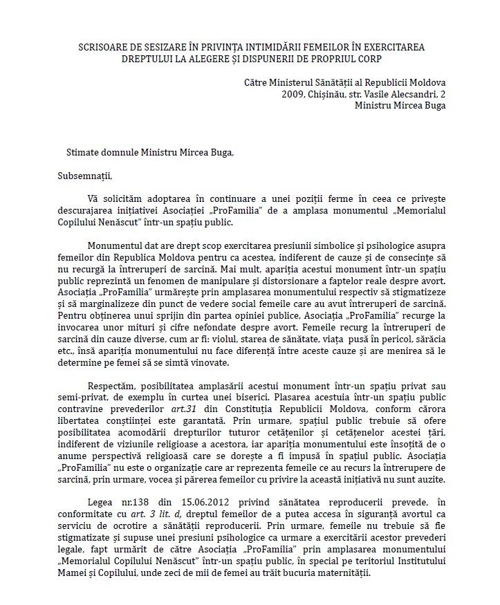 SCRISOARE DE SESIZARE IN PRIVINTA INTIMIDARII FEMEILOR IN EXERCITAREA DREPTULUI LA ALEGERE SI DISPUNERII DE PROPRIUL CORP